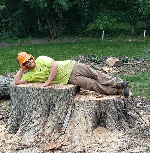 man-laying-on-stump